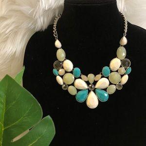 Turquoise Green Jade Floral Bib Statement Necklace